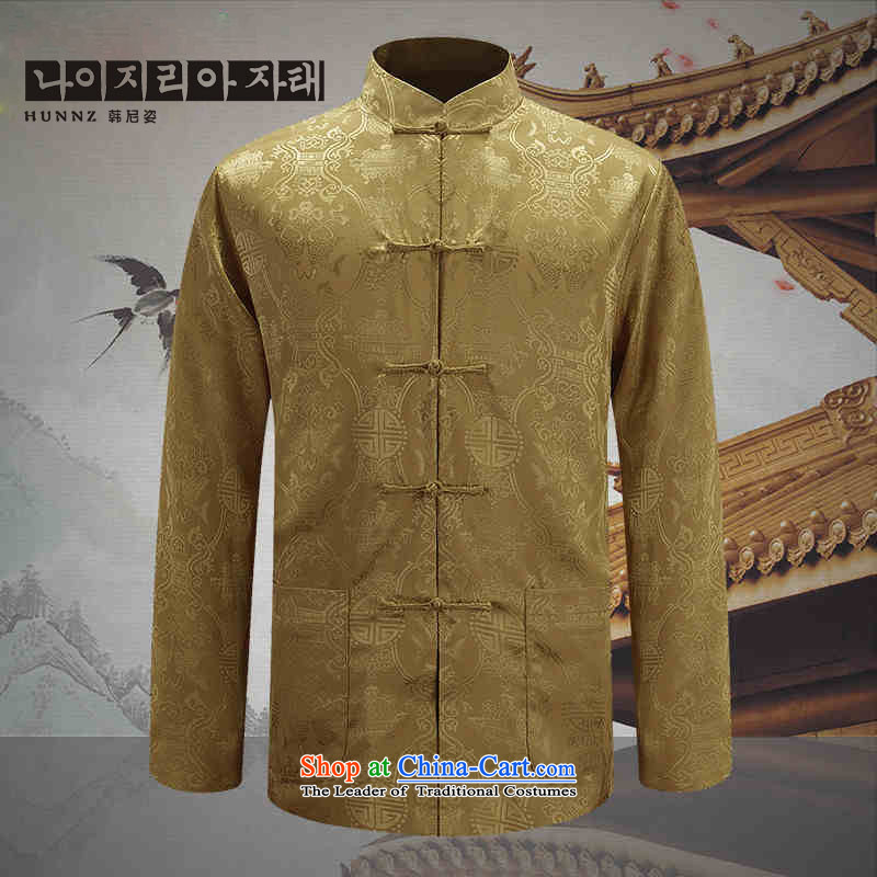 Hannizi new men's double-sided Tang Dynasty Show Services may be through positive and negative costumes and new Chinese tunic male yellow spring and autumn 185 won, Gigi Lai (hannizi) , , , shopping on the Internet
