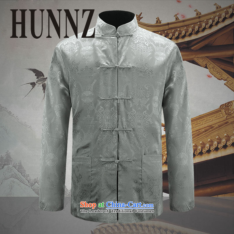 Hunnz new men's double-sided Tang Dynasty Show Services may be through positive and negative costumes and spring and autumn new Chinese tunic and light gray 180