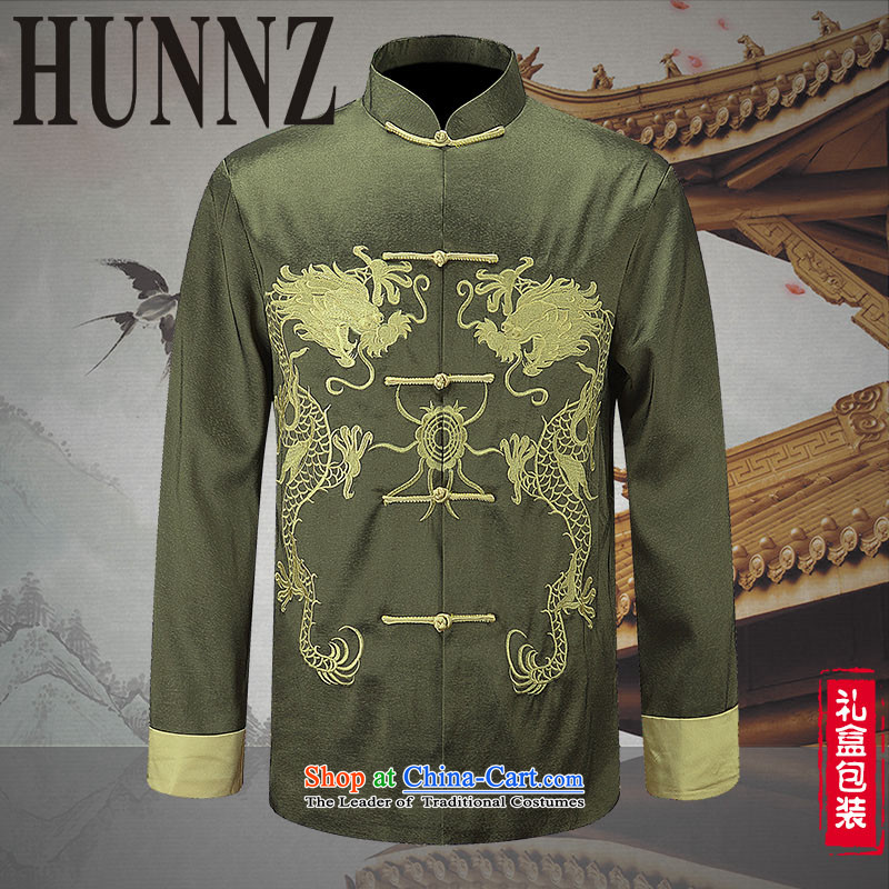 Hunnz New China wind men men Tang Dynasty Chinese long-sleeved jacket embroidered dragon will Chinese tunic Green 180