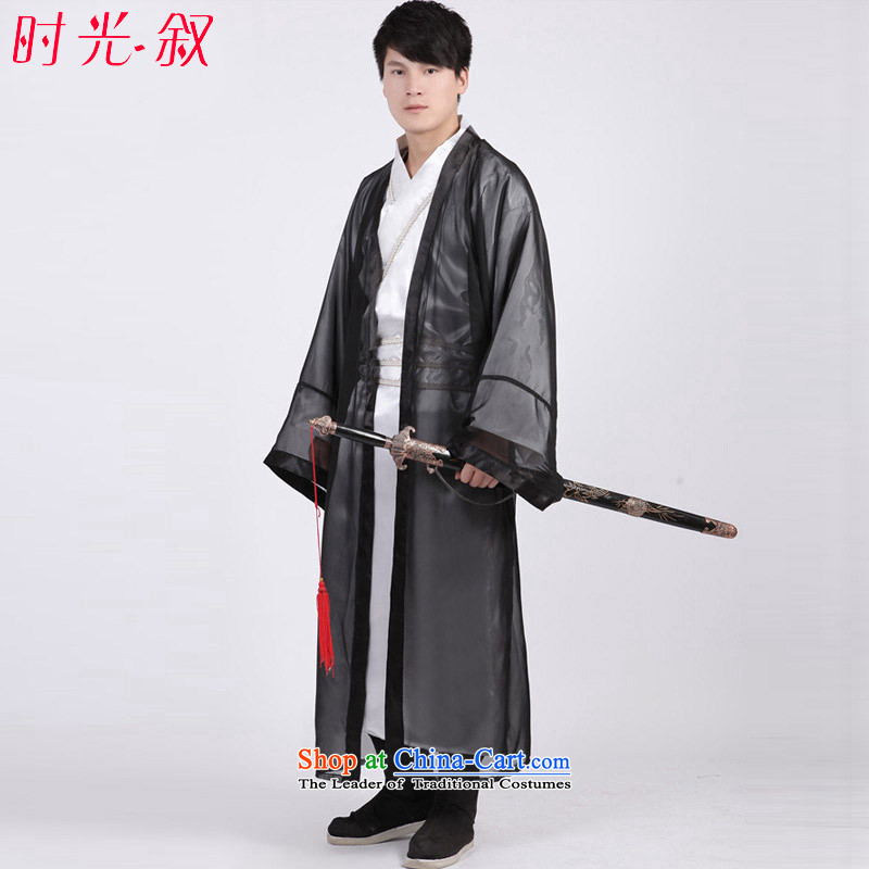 Time Syrian Men's Apparel costume Tang Dynasty Han-track civil Han Gong Han Han dynasty knights-errant dress clothes Emperor Prince Edward services black adult_