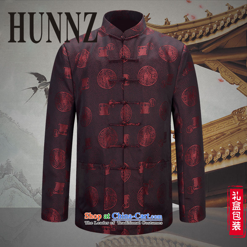 Hunnz of older persons in the new Tang dynasty men characters long-sleeved Chinese Dress China Wind Jacket couples deep red 175 extra cotton