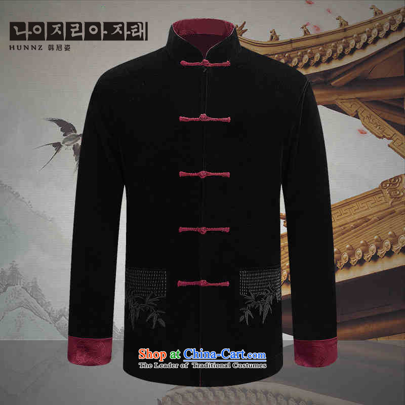 Hannizi new corduroy of older persons in the Tang Dynasty Recreation of traditional Chinese wind long-sleeved men wearing a jacket and black and red double-sided double-sided 185