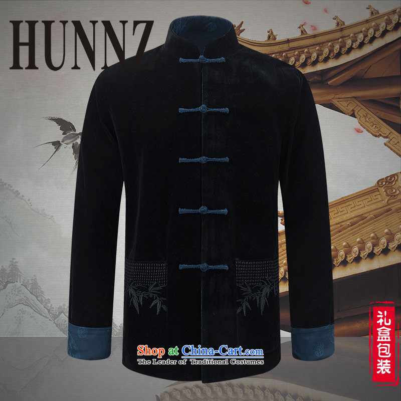 Hunnz new corduroy of older persons in the Tang Dynasty Recreation of traditional Chinese wind long-sleeved men wearing black jacket double-sided blue Duplex?175