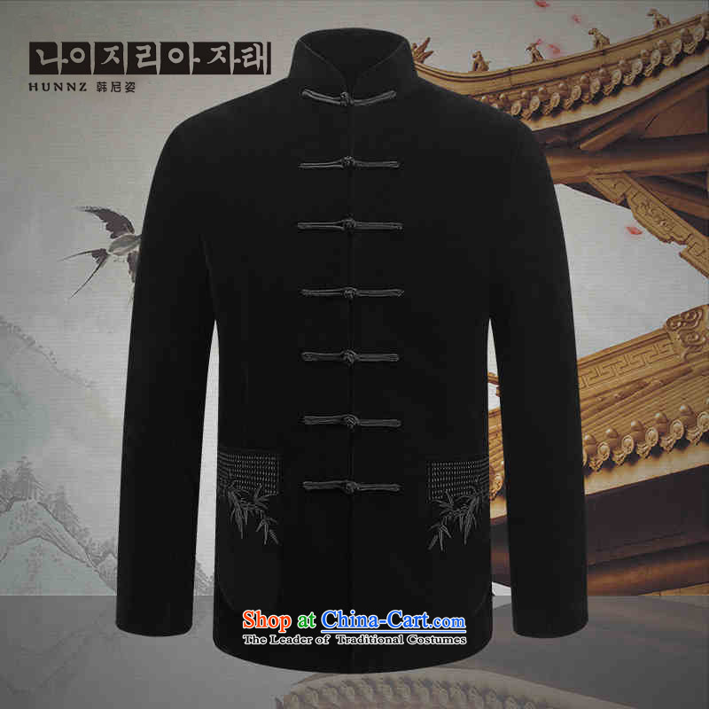 Comfortable velvet Kim HANNIZI men Tang dynasty China wind of older persons in the long-sleeved jacket Chinese male jacket, black 170