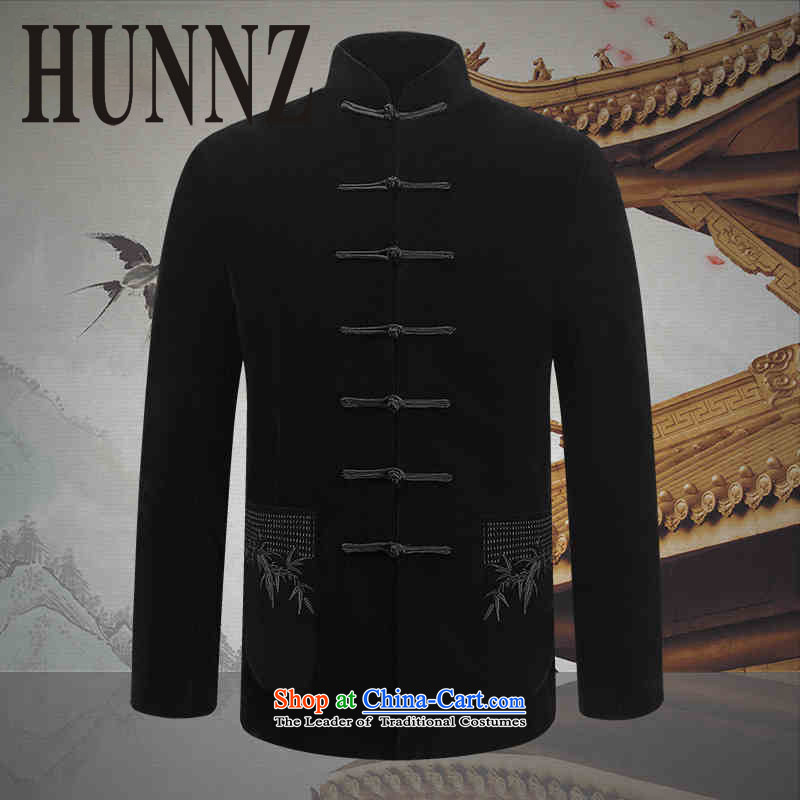 Comfortable velvet Kim HUNNZ men Tang dynasty China wind of older persons in the long-sleeved jacket Chinese male jacket, black 170