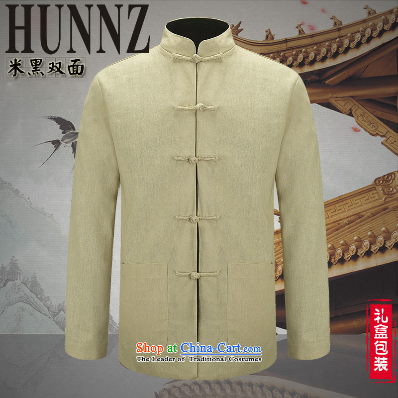 Classic Chinese Wind HUNNZ men Tang dynasty long-sleeved shirt cotton linens and Chinese Two-sided wear jacket men in black and white two-sided 175