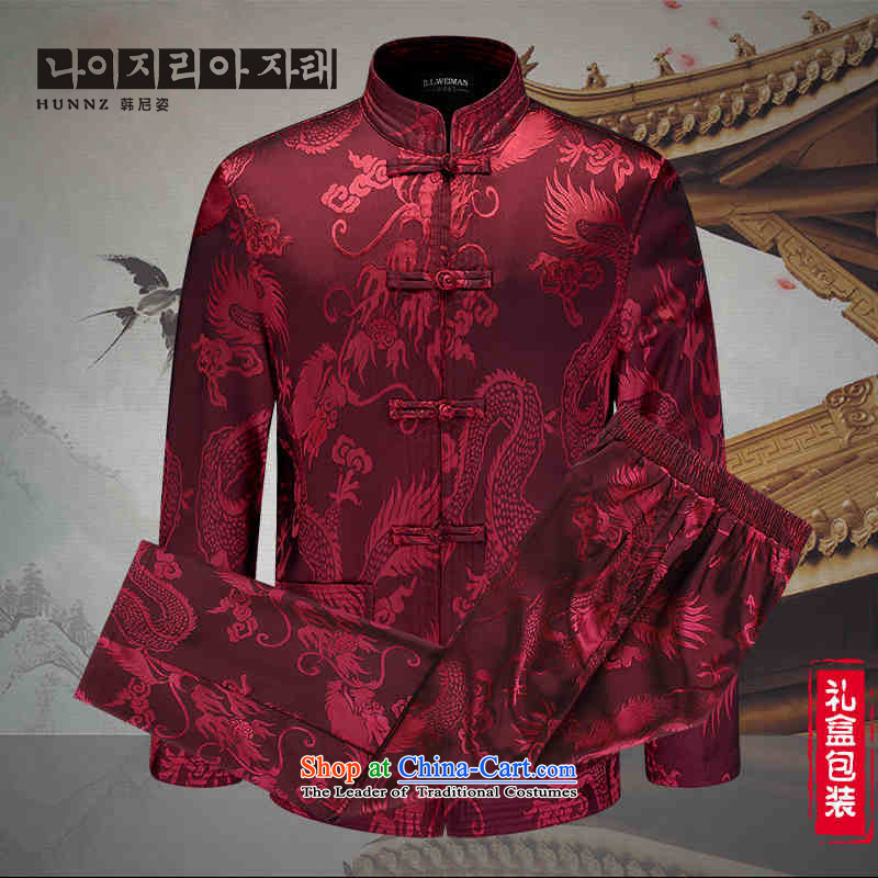 The new classic Chinese HANNIZI wind men of older persons in the Tang Dynasty Chinese ceremony with the national costumes packaged deep red?175