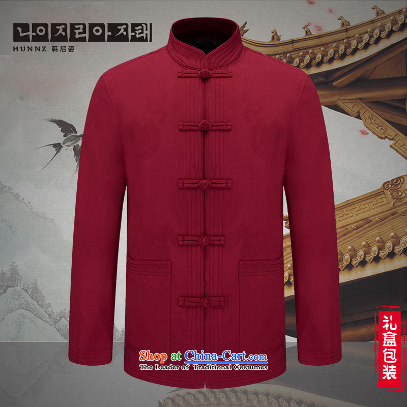 Hannizi ethnic characteristics in men's jackets China wind men of older persons in the Han-casual jacket jacket deep red 175