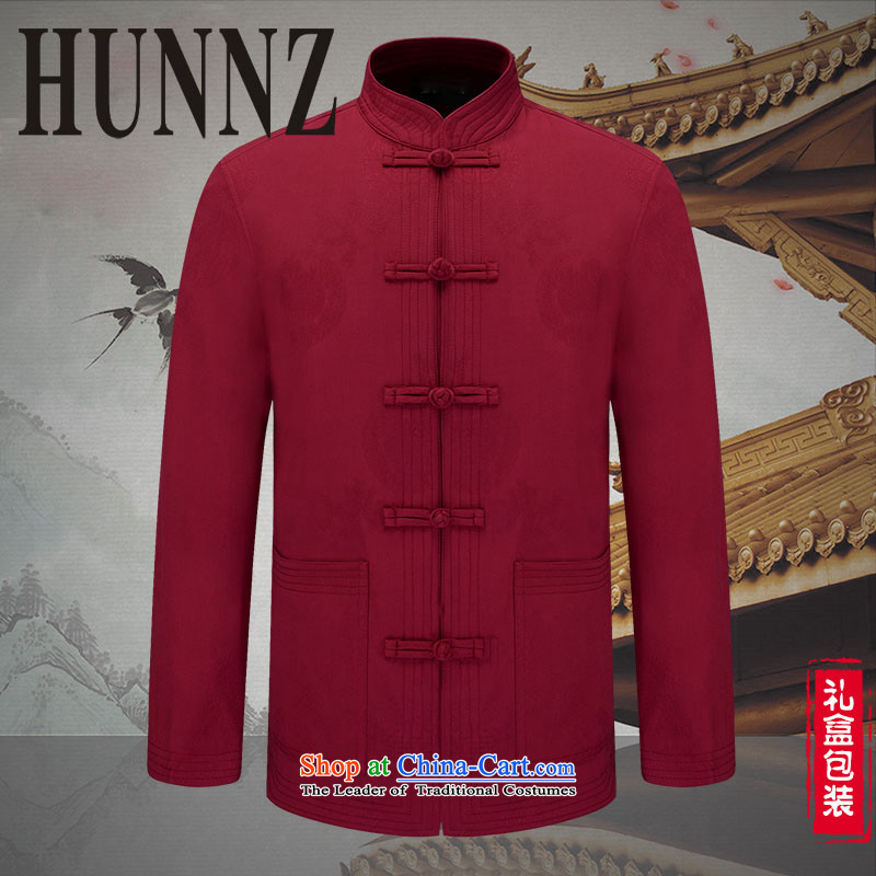 Hunnz ethnic characteristics in men's jackets China wind men of older persons in the Han-casual jacket jacket deep red�170