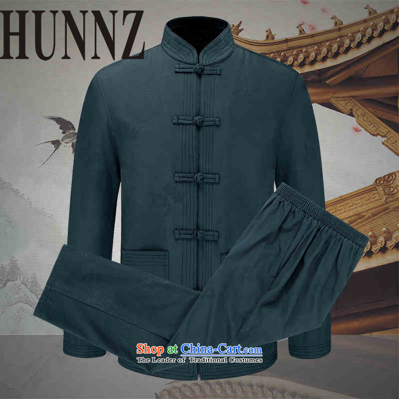 With ethnic characteristics in China HUNNZ wind men Tang dynasty men kit long-sleeved jacket men in spring and autumn Kit Army Green聽190