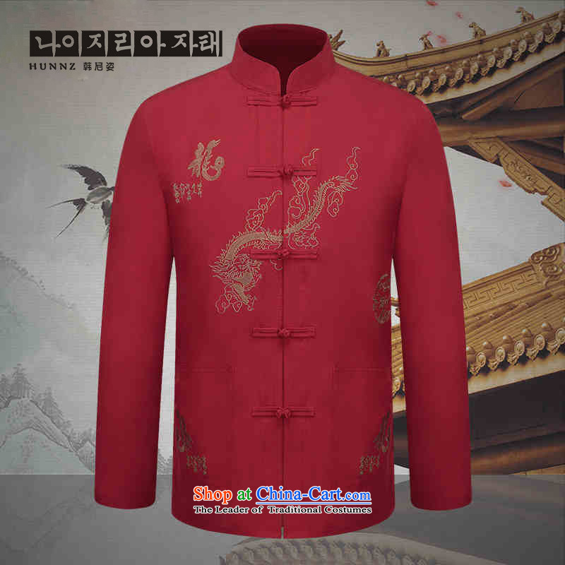 New HANNIZI Men long-sleeved Tang dynasty China wind embroidery in Chinese tunic father replacing classical dark red T-shirt festive?165