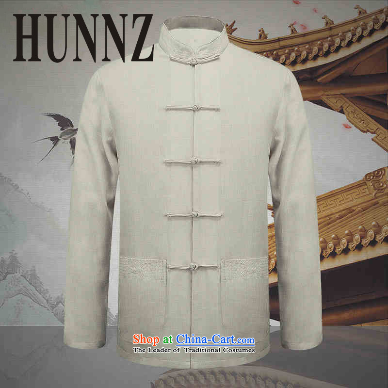 Hunnz natural cotton linen men Tang Gown of older persons in long-sleeved T-shirt, jacket deduction father unobtrusive white men�0