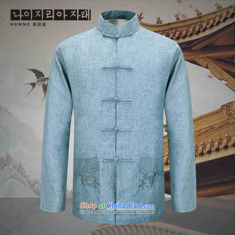 New Natural Linen HANNIZI men jacket Classical China wind Chinese tunic fine embroidery father light blue?180 Pack