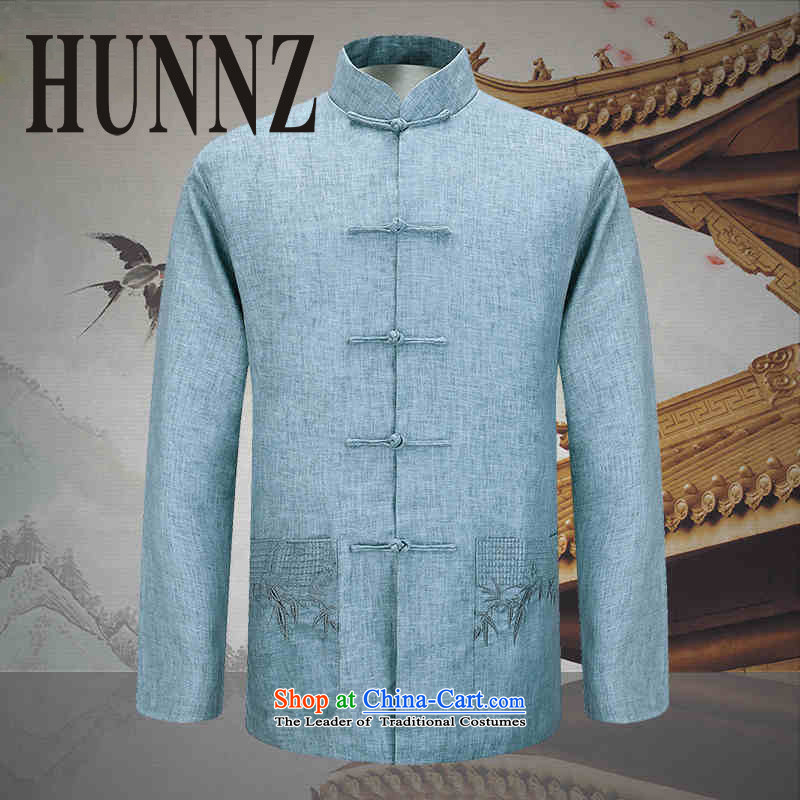 New Natural Linen HUNNZ men jacket Classical China wind Chinese tunic fine embroidery father light blue?175 Pack