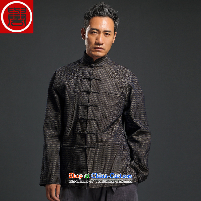 Renowned Tang dynasty China wind men cowboy Chinese manual tray clip Stylish retro T-shirt, jacket neck jacket and dark gray聽3XL