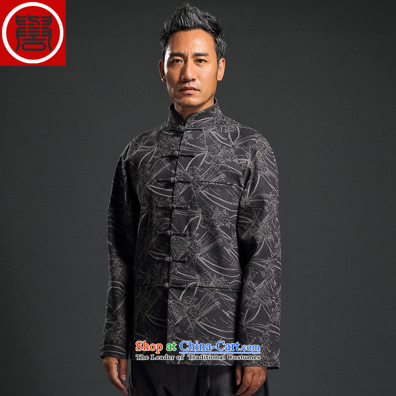 Renowned China wind knitting cowboy Tang Dynasty Chinese Manual Tray detained men and Stylish retro T-shirt, jacket Neck Jacket Dark Gray聽4XL
