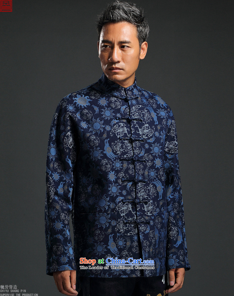 Renowned China wind knitting cowboy Tang Dynasty Chinese Manual Tray detained men jacket Stylish coat collar retro shirt blue XL Photo, prices, brand platters! The elections are supplied in the national character of distribution, so action, buy now enjoy more preferential! As soon as possible.