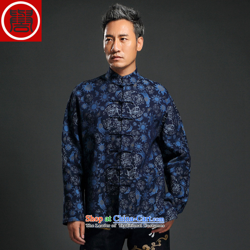 Renowned China wind knitting cowboy Tang Dynasty Chinese Manual Tray detained men jacket Stylish coat collar retro shirt blue聽XL