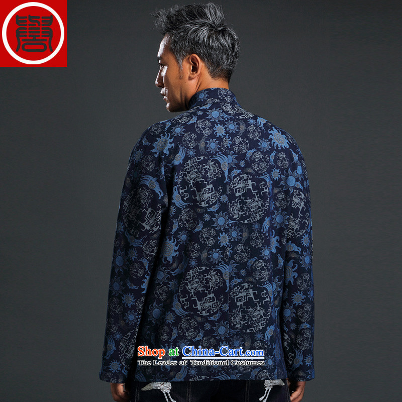 Renowned China wind knitting cowboy Tang Dynasty Chinese Manual Tray detained men jacket Stylish coat collar retro shirt blue XL, renowned (CHIYU) , , , shopping on the Internet