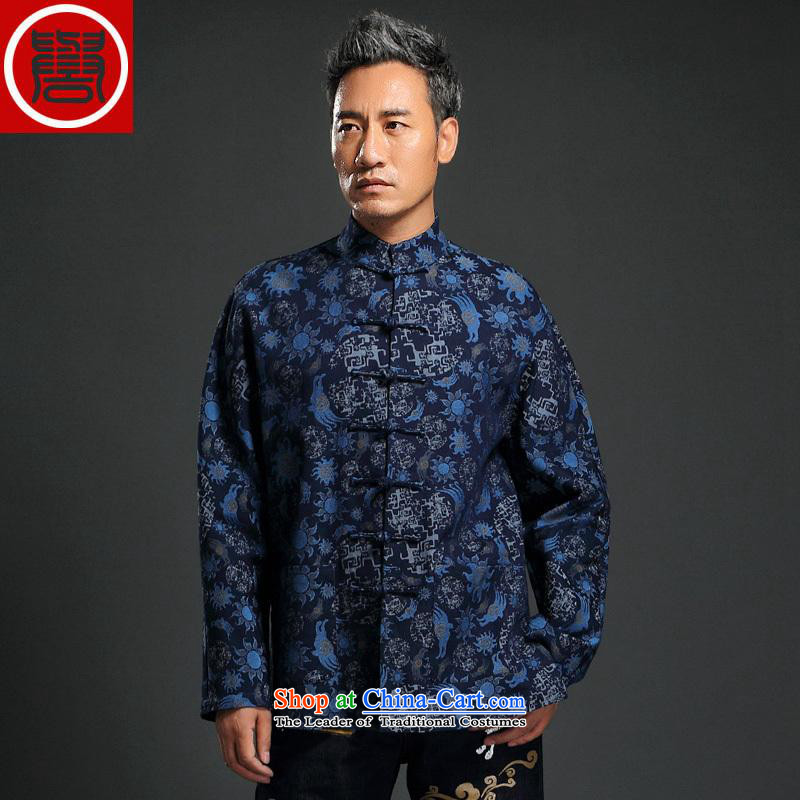 Renowned 2015 China wind knitting cowboy Tang Dynasty Chinese men detained jacket stylish manually disc jacket collar retro stamp shirt blue聽L