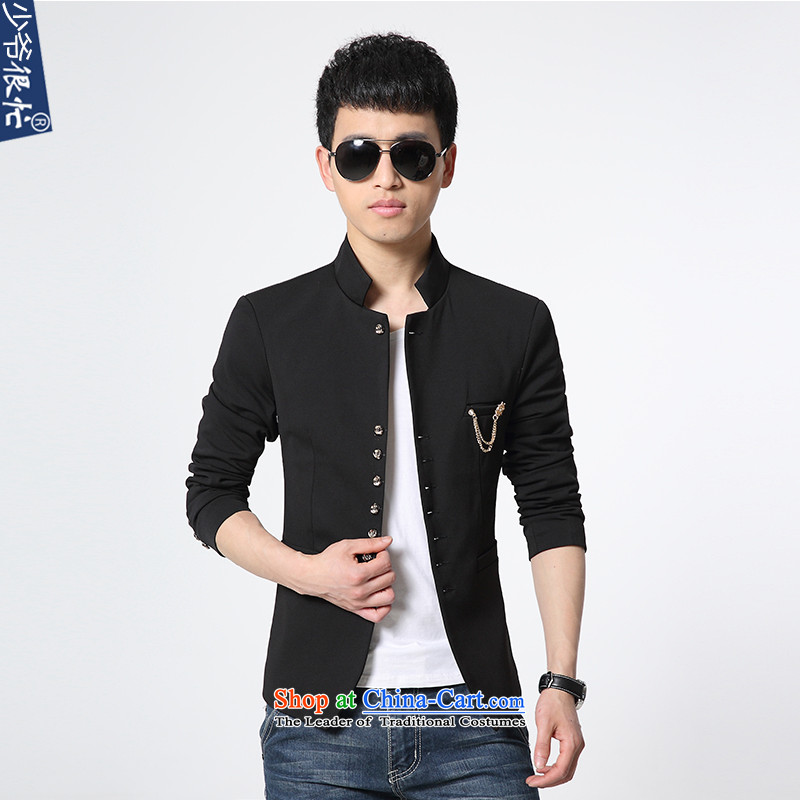 Shao Ye Zhan very busy autumn and winter new products Men's Mock-Neck Small Business Suit Sau San Korean Modern Youth Chinese tunic suit coats and pure color XF57 black L