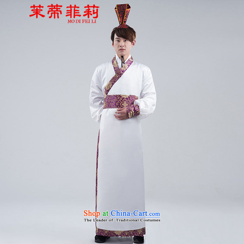 Energy Tifi Han-li hong Kong-those men white purple side sleeves direct civil improvement Tang dynasty men costumes White?XL