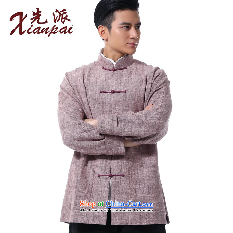 The dispatch of the Spring and Autumn Period and the Tang Dynasty New Men blacklead linen even China wind Stylish coat cuff youth arts leisure loose coat disk detained collar ethnic toner hemp jacket�XXL