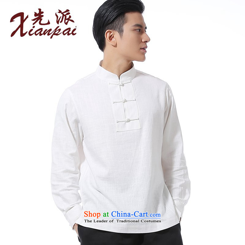 The dispatch of the spring and summer of new products and new long-sleeved shirt with Chinese linen collar Tray Tie Kit and a long-sleeved shirt Tang dynasty men casual relaxd stylish shirt China wind youth White Linen Dress Shirt hedging XL