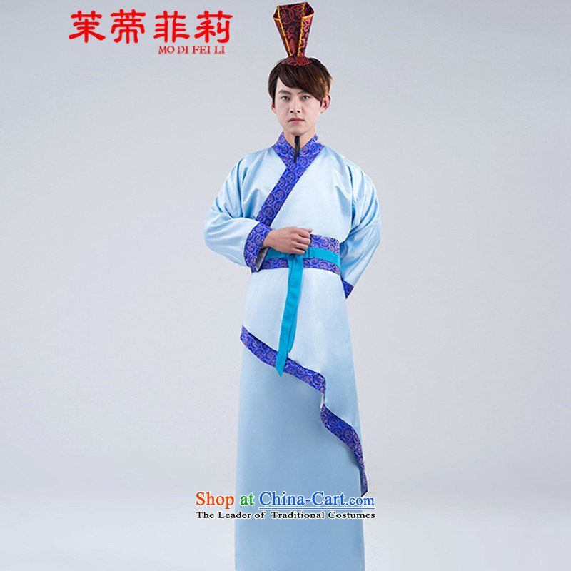 Energy Tifi Li men costume Tang dynasty improved Han-Menswear errant services photo session just dress curved civil blue�XXL