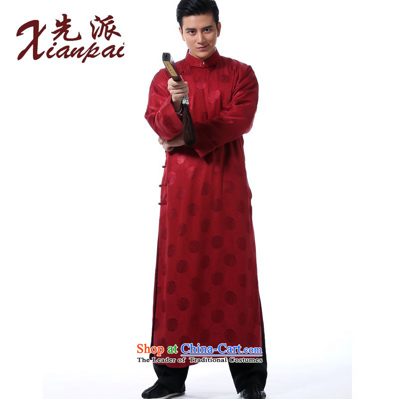 The dispatch of Tang Dynasty New Men traditional feel even shoulder the new Chinese comic dialogs dress robe stylish China wind silk gown tray clip collar ethnic wedding dresses of the bridegroom red circle silk gowns 3XL Xiang of  new product pre-sale 5
