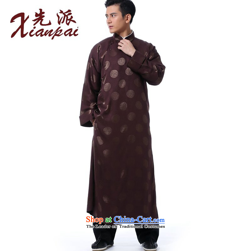 The dispatch of the Spring and Autumn Chinese comic dialogs dress gown new Tang dynasty men's traditional feel even cuff tray clip collar national wind in older silk Xiang of cheongsams banquet dress coffee cup silk gown of Xiang�M �new pre-sale 5 day shi