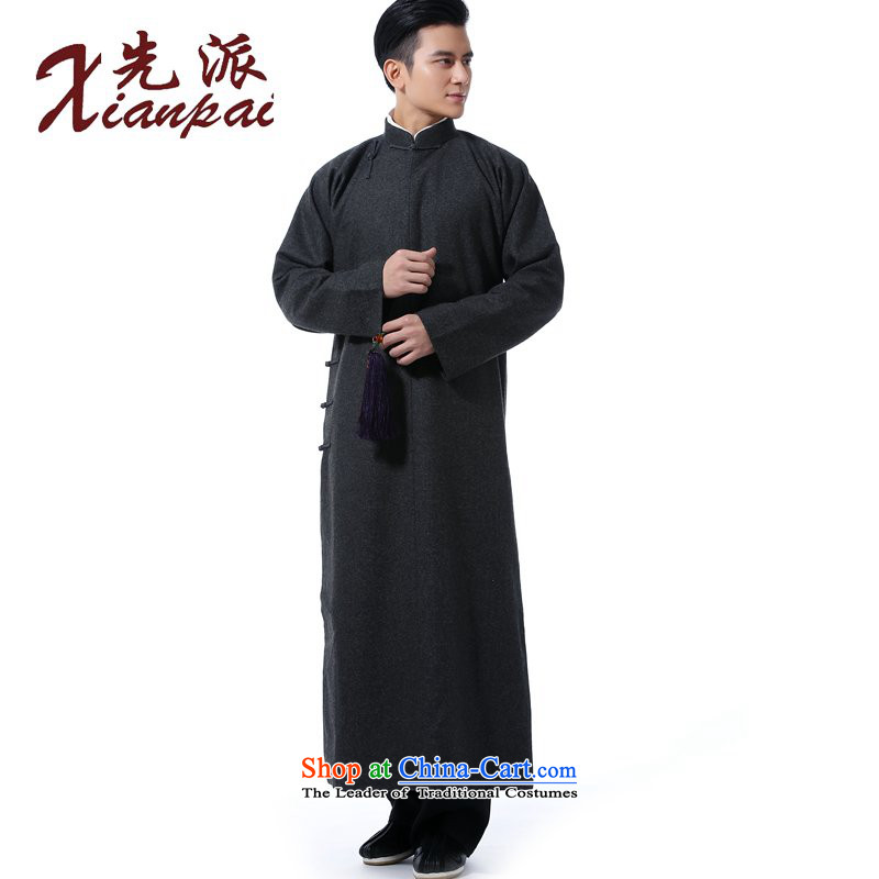 The dispatch of autumn and winter new Tang dynasty men feel Chinese gown gross? comic dialogs dress cheongsams stylish China wind up charge-back collar national wind in older high end banquet dress gray wool and gowns?L ?new pre-sale 5 day shipping