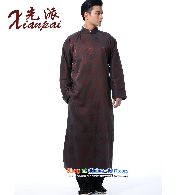 The dispatch of Tang Dynasty men of autumn and winter comic dialogs gowns theatrical performances Chinese robe disk new clip collar middle-aged cheongsams shoulder even China wind father art robe coffee cup robe?XL ?new pre-sale 5 day shipping