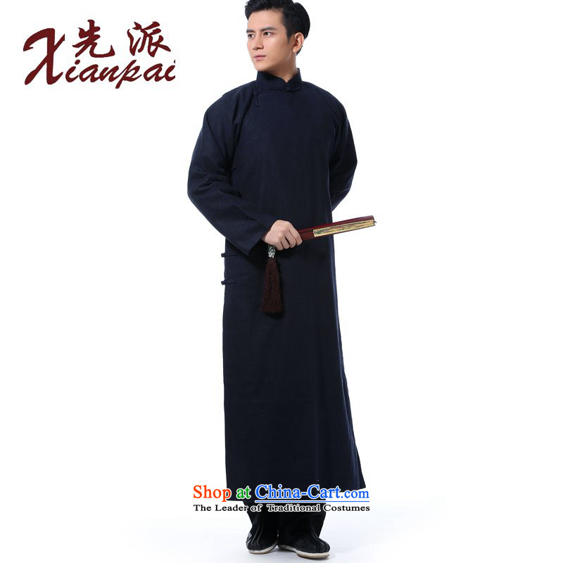 The dispatch of the Spring and Autumn Period and the traditional feel even shoulder linen collar tray snap Chinese comic dialogs dress robe Tang dynasty China wind Chinese Cheongsams Youth Literary collar van blue linen gowns 3XL  new pre-sale 5 day shipp