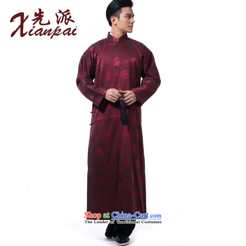 The dispatch of Tang Dynasty men during the spring and autumn comic dialogs gowns gown dress new Chinese robe will connect cuff cheongsams stylish China wind up the clip relaxd casual collar red circle robe?L ?new pre-sale 5 day shipping