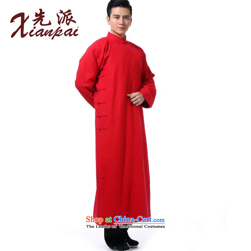 The dispatch of Tang Dynasty men during the spring and autumn comic dialogs gowns robe will new Chinese style wedding groom Services China wind 4.5-60s linen collar Youth Arts High-end dress red linen gowns?XL ?new pre-sale 5 day shipping