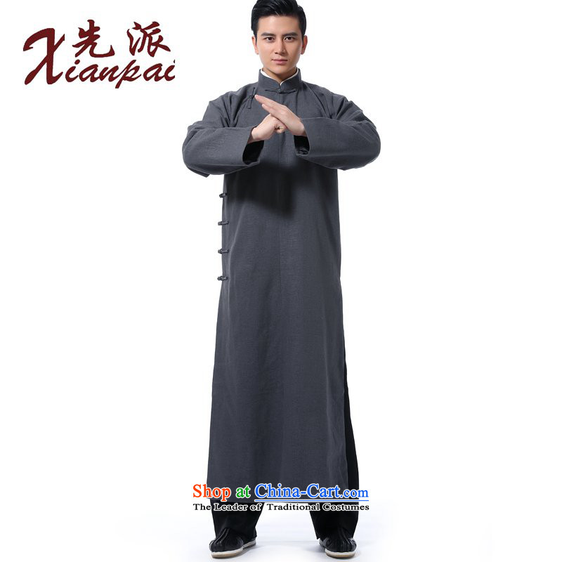 The dispatch of Tang Dynasty new men during the spring and autumn linen gowns comic dialogs will Chinese robe disc detained in collar older daddy long smockfrock China wind cultural and arts services home gray linen gowns?M ?new pre-sale 5 day shipping