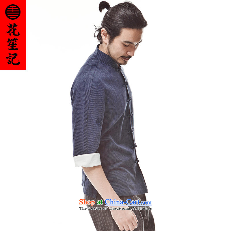 His Excellency spend $credited China wind Henry Jung-Pure Cotton fine ancient Chinese retreat with a mock-neck disc deduction yi retro nation in the Tang dynasty DEEP BLUE (M), (HUSENJI POLISARIO flower) , , , shopping on the Internet