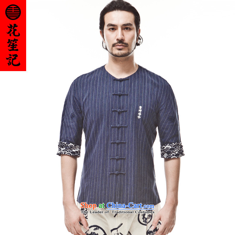 His Excellency flower note China wind who without collars pure cotton wide band a Chinese Zen Yi Ku-five penalty points Tang dynasty deep blue sleeve large (L)