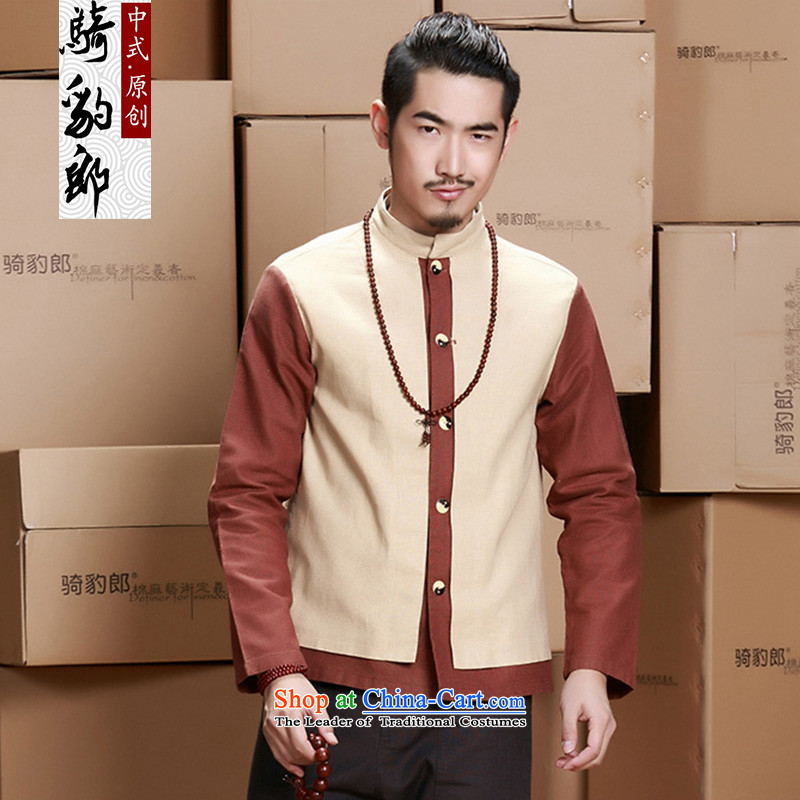 Jockeys Leopard jacket men who national costumes Tang dynasty China wind long-sleeved cotton linen men of autumn and winter new improved Han-designer brands m Yellow M
