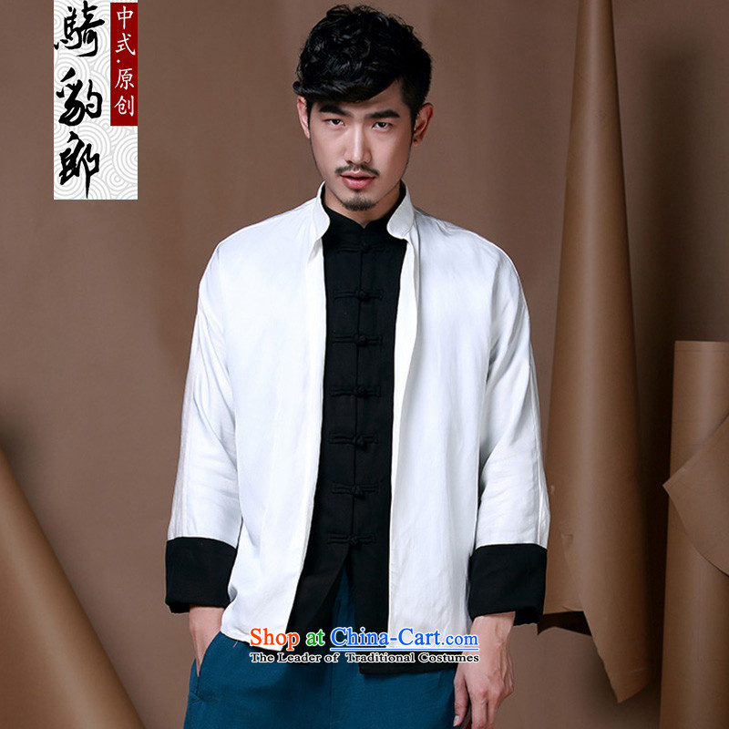 Jockeys Leopard who fall jacket and Tang dynasty China wind improved Han-ball-service men long-sleeved cotton linen leave two planes crashed buttoned, designer brands�XXXL White