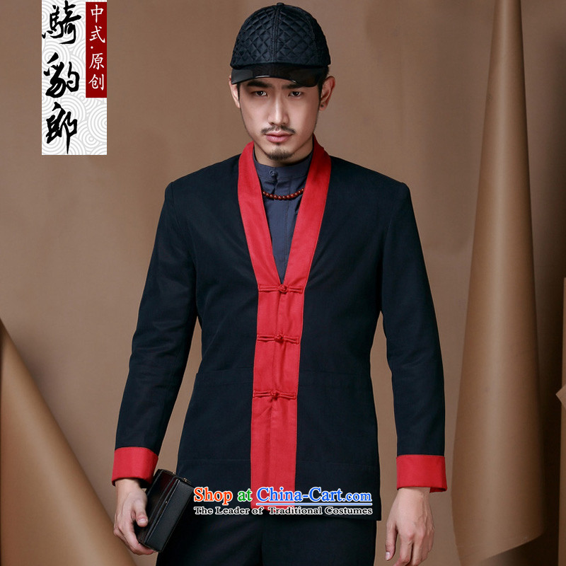 Jockeys Leopard Health Tang dynasty China wind retro men Chinese national costumes men fall and winter of leisure long-sleeved improved Han-jacket designer brands聽XXXL black