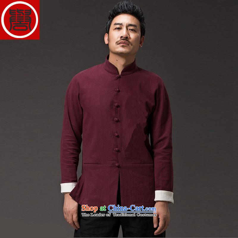 聽The spring and autumn of 2015, renowned Tang Dynasty men linen solid color long-sleeved loose China wind men's jackets and disc buttoned, ethnic red聽XL