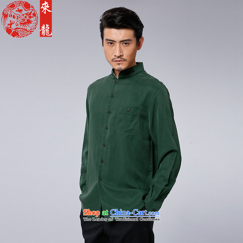To Tang dynasty lung autumn New China wind men Tencel Porcelain Tile long-sleeved shirt�15589�Green Green�50