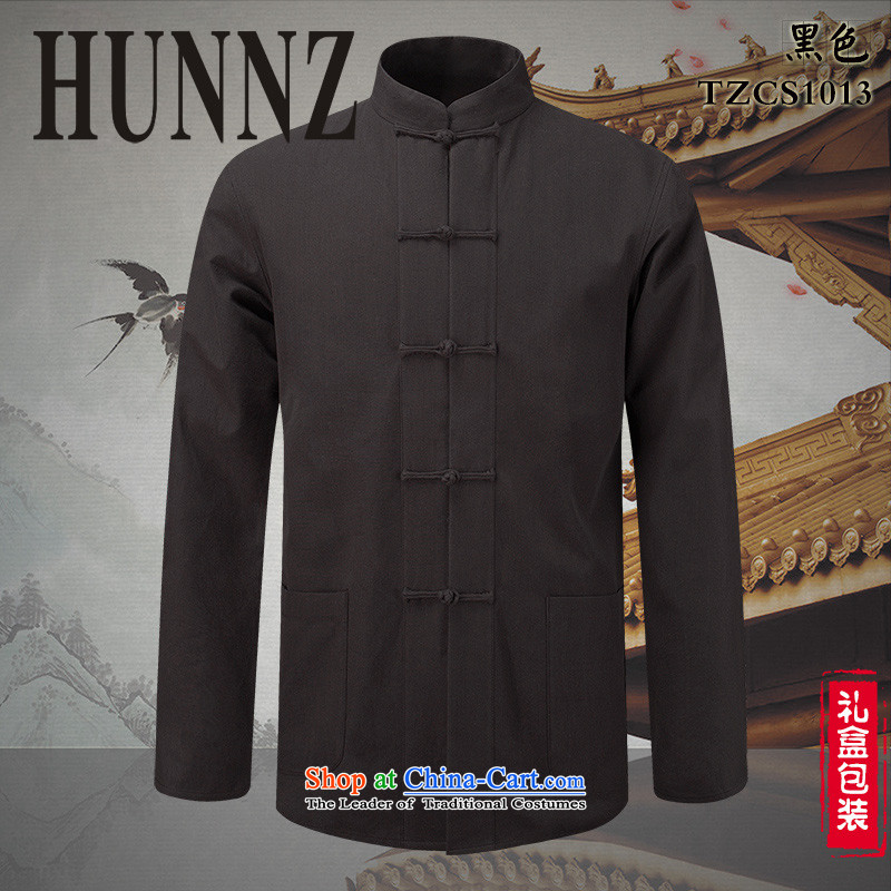 Classical China wind Tang HUNNZ loaded collar disc detained men pure cotton linen shirt ethnic men a black long-sleeved聽165,HUNNZ,,, shopping on the Internet