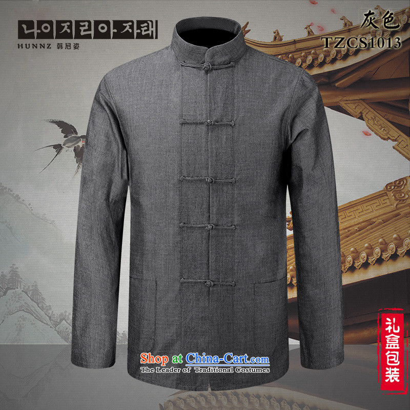 Classical China wind Tang HANNIZI loaded collar disc detained men pure cotton linen shirt ethnic men long-sleeved gray 185 won, Gigi Lai (hannizi) , , , shopping on the Internet