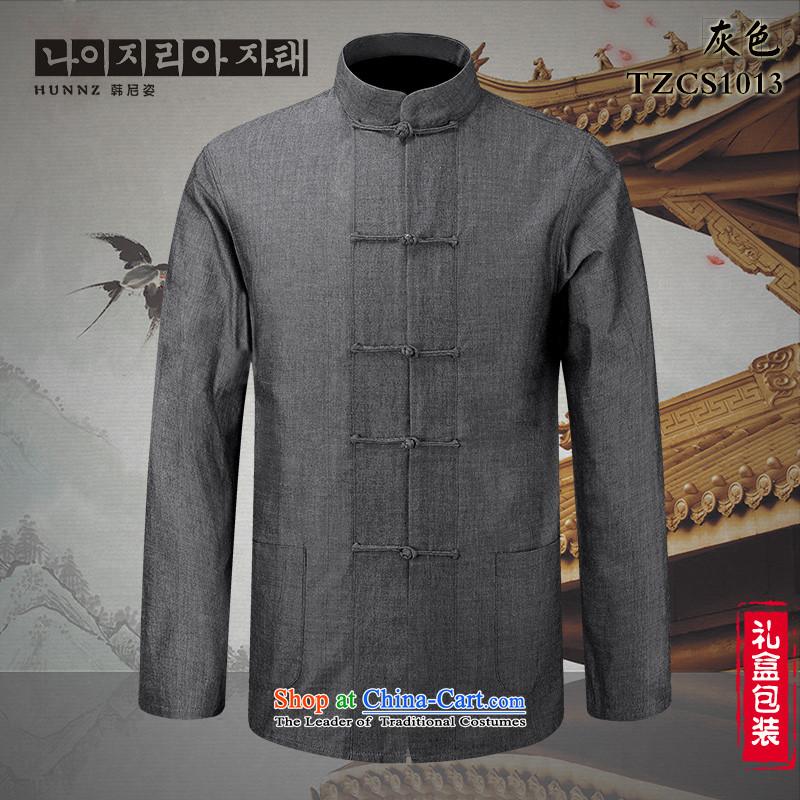 Classical China wind Tang HANNIZI loaded collar disc detained men pure cotton linen shirt ethnic men long-sleeved gray185 won, Gigi Lai (hannizi) , , , shopping on the Internet