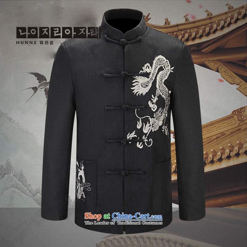 Quality cotton linen HANNIZI men Tang dynasty China Wind Jacket Lung Men Jacket coat during the Republic of Chinese tunic Silver Dragon�175