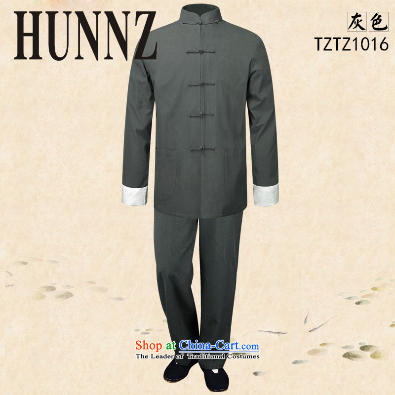 Hunnz natural cotton linen men Tang dynasty long-sleeved leisure solid color kung fu serving classic kit theatrical performances clothing gray聽165
