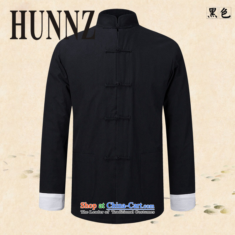 New products of traditional Chinese HUNNZ wind men Tang Dynasty Chinese long-sleeved jacket natural cotton linen clothes Chinese tunic black?185 Kung Fu